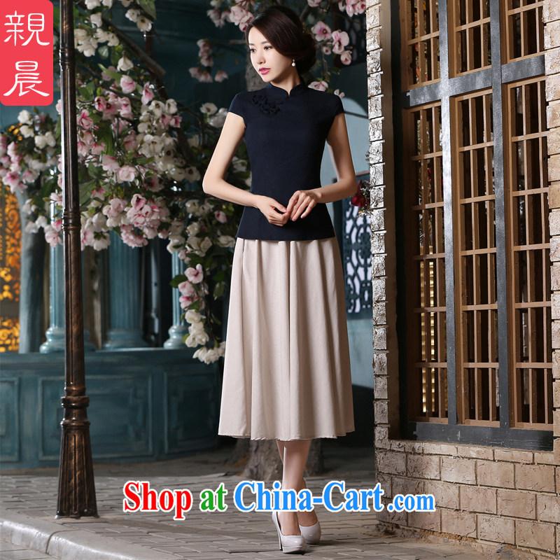 pro-am 2015 new summer daily short-sleeve cotton Ma dresses, Retro short dresses improved stylish LN 453 T-shirt + MQ 442 skirt L