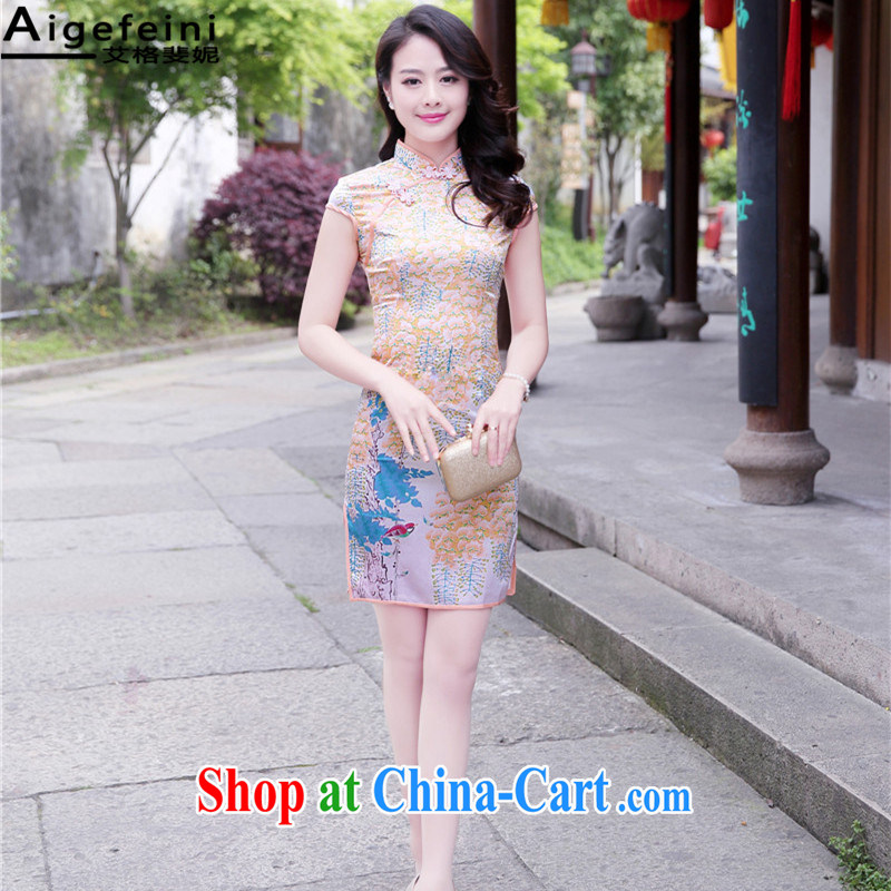 The grid caused Connie _Aigefeini_ summer 2015 new dresses girls retro improved daily cultivating the waist graphics thin stylish dress dresses small perfume XXL