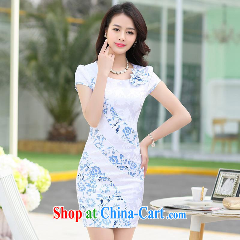 Improved cheongsam dress summer 2015 hit color everyday dress middle-aged modern-day dresses skirt package and the waist ceremonial dress female decoration, graphics thin round-collar white M