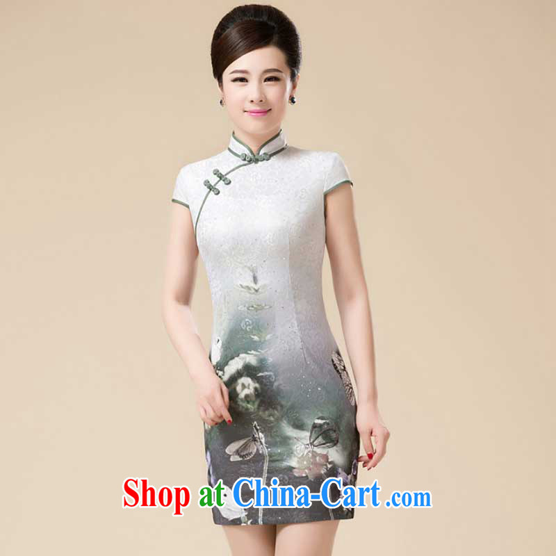 Summer new Stylish retro girls with dresses beauty aura improved Tang replace flouncing dresses HZMwl 1813 gray XXXL