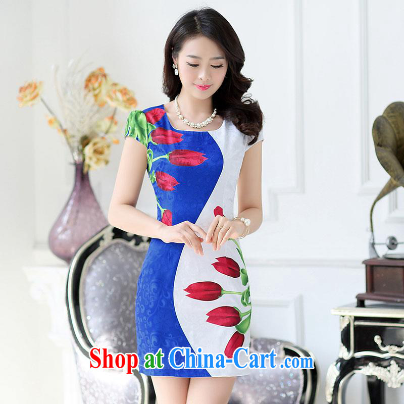 Improved cheongsam 2015 summer packages and short cheongsam dress party for the lumbar cultivating middle-aged dresses spell color stamp stylish MOM replace ceremonial dress black L