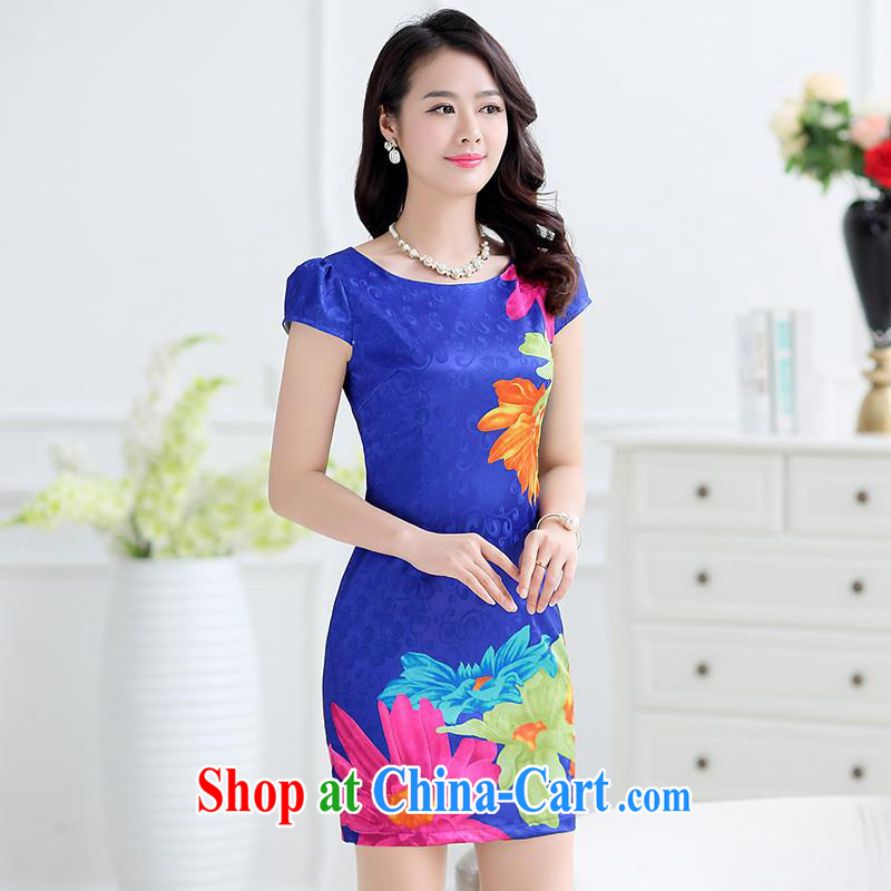 Improved cheongsam summer 2015 new middle-aged dresses the pockets and cheongsam dress beauty graphics thin mother with elegance and stylish female Po Lan M