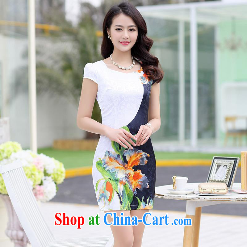 Improved cheongsam 2015 summer short-waist and dress middle-aged mother and stylish decor, Video thin female black XXL