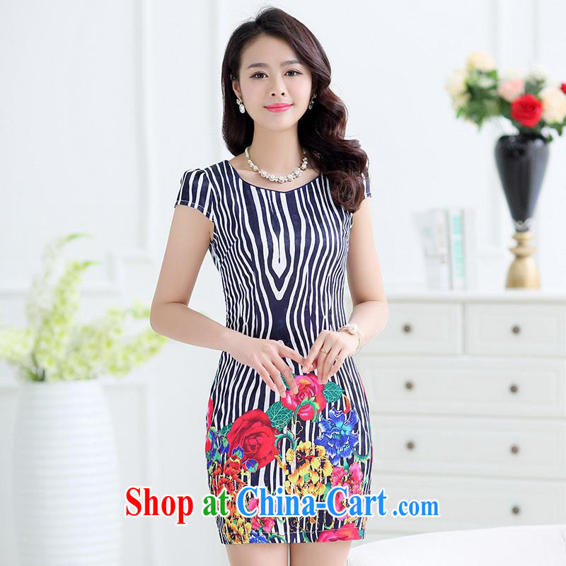 Improved cheongsam dress summer 2015 middle-aged dresses package and short cheongsam dress cultivating the waist with her mother aura leisure female black M