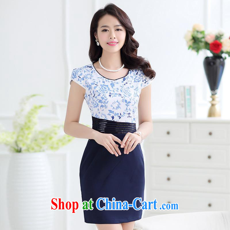 Improved cheongsam dress summer 2015 China wind daily cheongsam dress the pockets and middle-aged dresses beauty graphics thin female with temperament mother load Po Lan XL