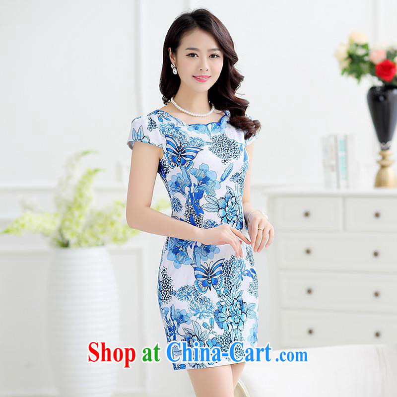 Improved cheongsam middle-aged fashion style dress package and cultivating graphics thin cheongsam dress short, stamp the female elegant mother load Po, L