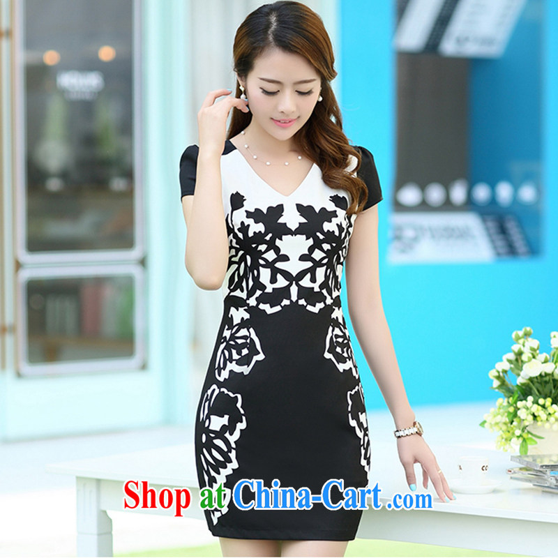 Improved cheongsam summer 2015 New China wind cheongsam dress middle-aged dresses beauty graphics thin OL commuter career with elegance mother women's clothes black L