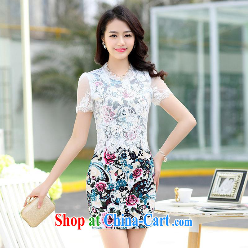 Improved cheongsam dress summer 2015 new middle-aged dresses beauty graphics thin OL commuter career with Chinese daily cheongsam dress lace elegance mother black M