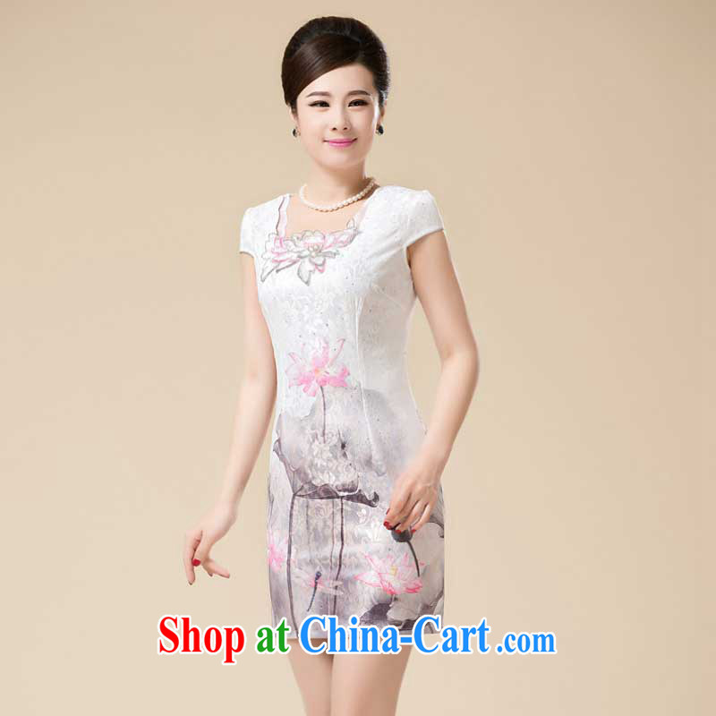 Summer new Stylish retro girls dresses with the snap-style cultivation improved Chinese Dress HZMwl 1820 pink XXXL