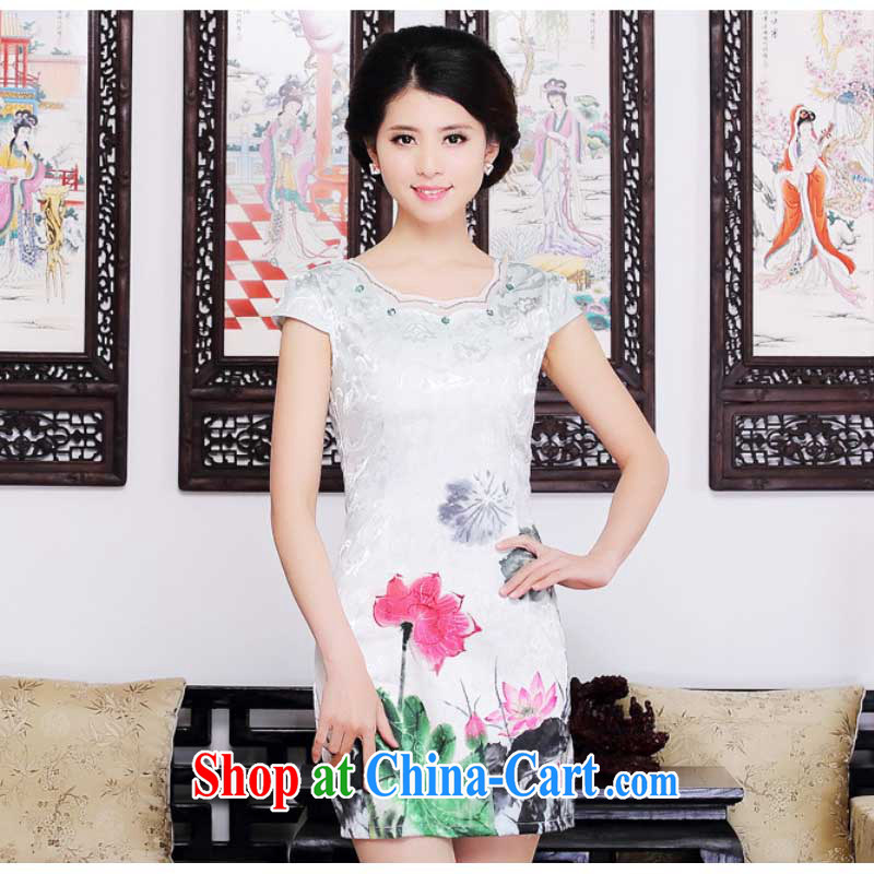Summer new Stylish retro girls with dresses beauty aura improved Tang replace the code graphics thin dresses HZMwl 1822 Lotus XXL