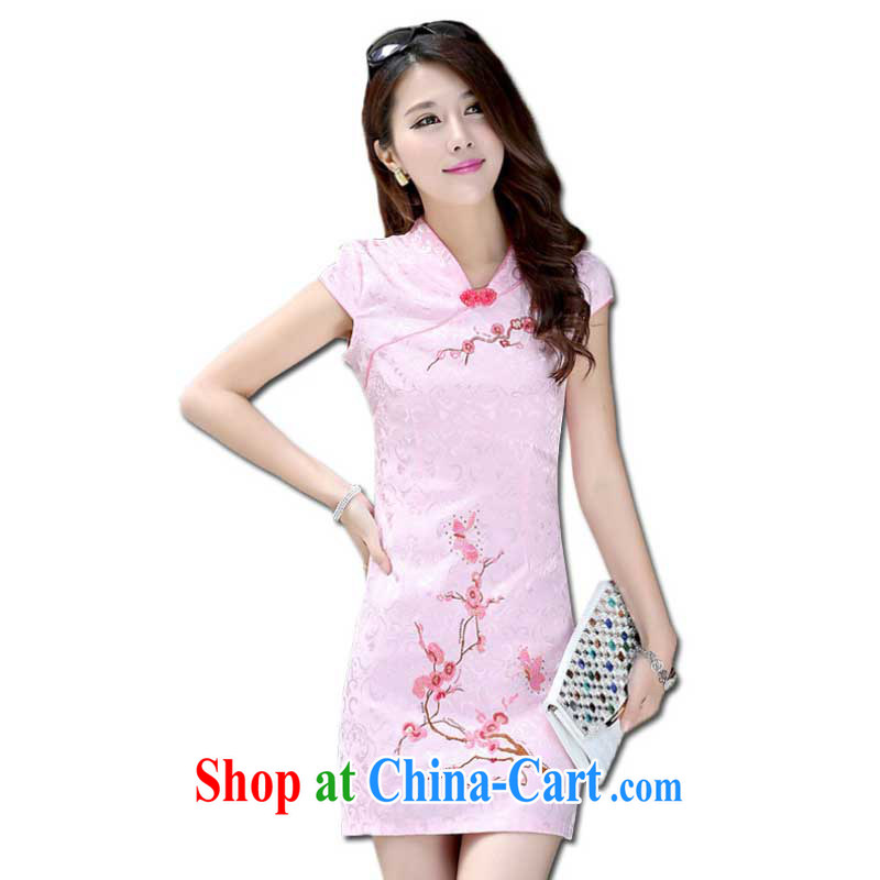 Summer New Women, cultivating ethnic wind cheongsam dress small V collar short cheongsam embroidered ZX 0991 pink S