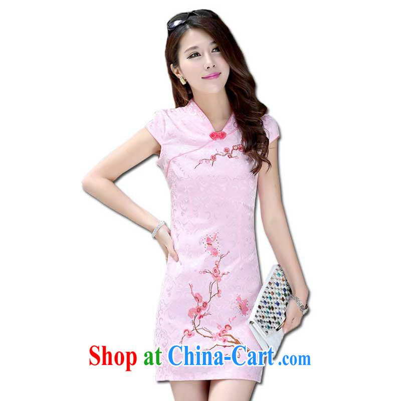 Summer New Women, cultivating ethnic wind cheongsam dress small V collar short cheongsam embroidered ZX 0991 pink S