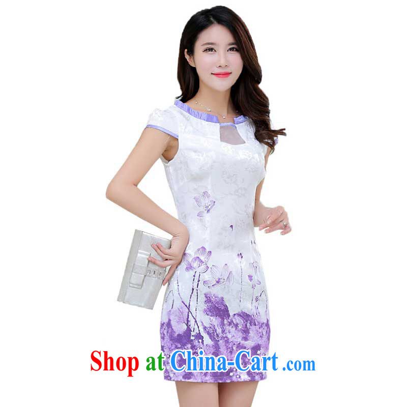 Summer new stylish improved cheongsam girls digital stamp Korean Beauty short-sleeved qipao dresses female ZX 1248 light purple XL