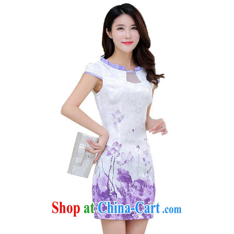 Summer new stylish improved cheongsam girls digital stamp Korean Beauty short-sleeved qipao dresses female ZX 1248 light purple XL