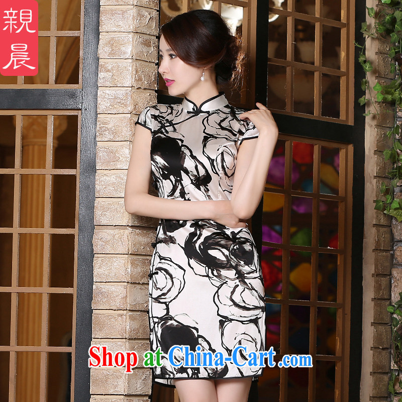 pro-am New 2015 daily summer retro improved stylish, heavy silk sauna Silk Cheongsam dress short 2 XL