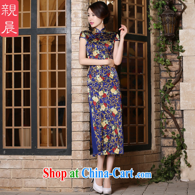pro-am 2015 new daily summer improved stylish long, short-sleeved sauna silk heavy Silk Cheongsam dress long 3XL