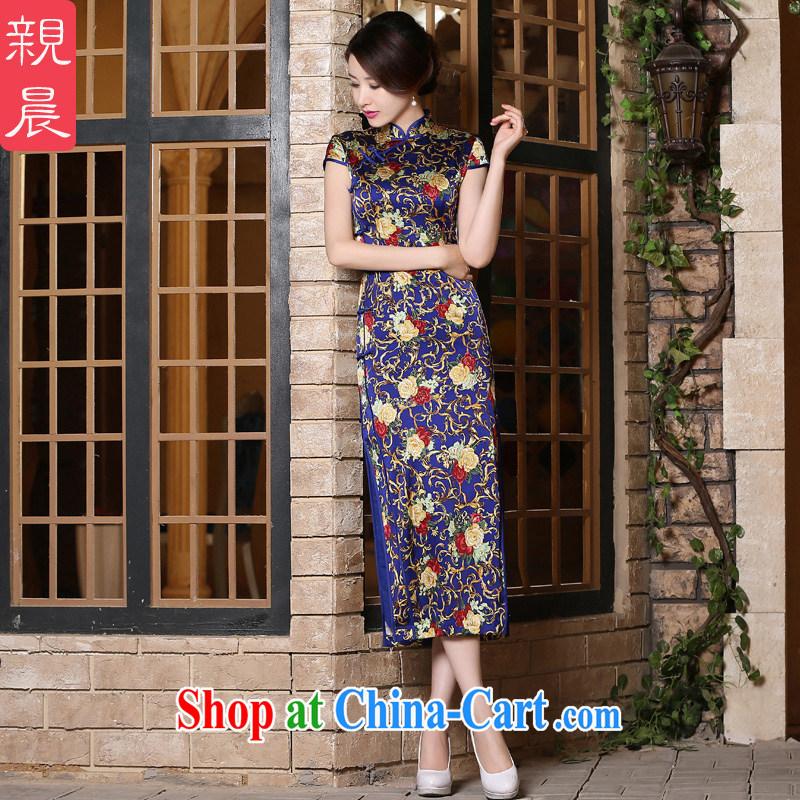 pro-am 2015 new daily summer improved stylish long, short-sleeved sauna silk heavy Silk Cheongsam dress, long 3 XL, pro-am, shopping on the Internet
