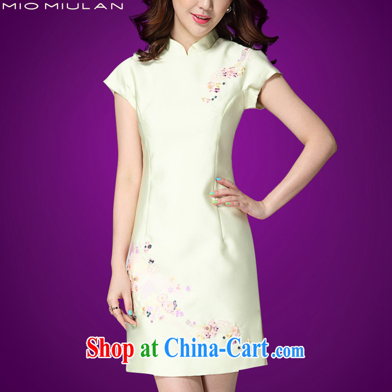 2015 summer new dresses and embroidery short sleeve and collar dresses high-end custom rayon Short package and temperament middle-aged mother with green XL