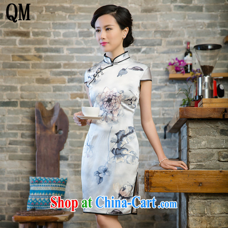 light at the retro sauna silk heavy Silk Dresses spring dresses summer 5081 JT white XXL