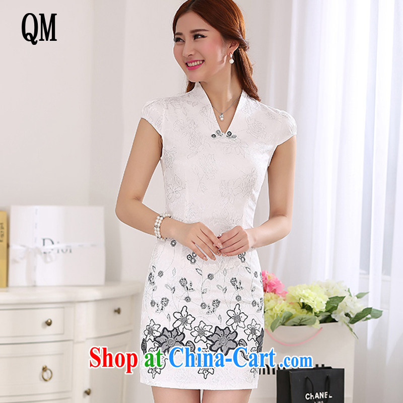 light at the national wind women stylish improved cheongsam Chinese style has been hard-pressed outfit solid JT 359 #white XL