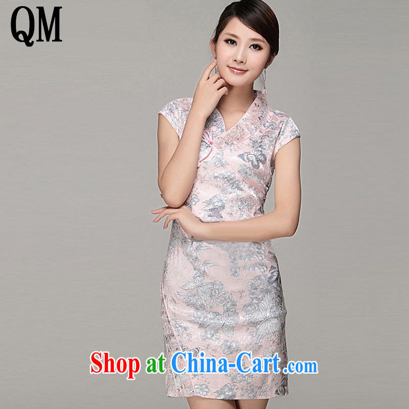 Shallow End Ethnic Wind Ms. silk dresses with short-sleeved beauty stylish and elegant qipao JT 308 meat pink XL
