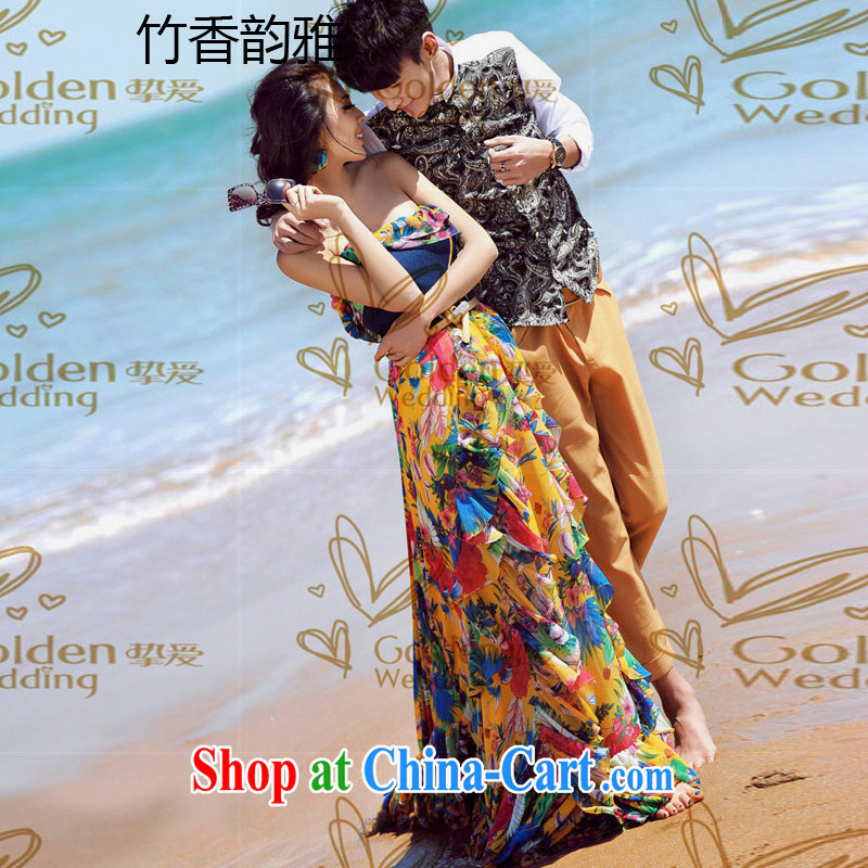 Bamboo incense were 2015 New Theme wedding dresses stamp stitching cowboy bare chest long skirt dresses picture color M