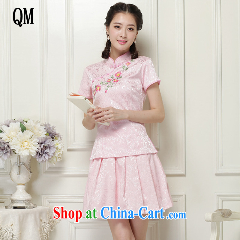 The end is very stylish and improved cheongsam Chinese wind-power's a tight two-piece short set JT 2068 pink XXL