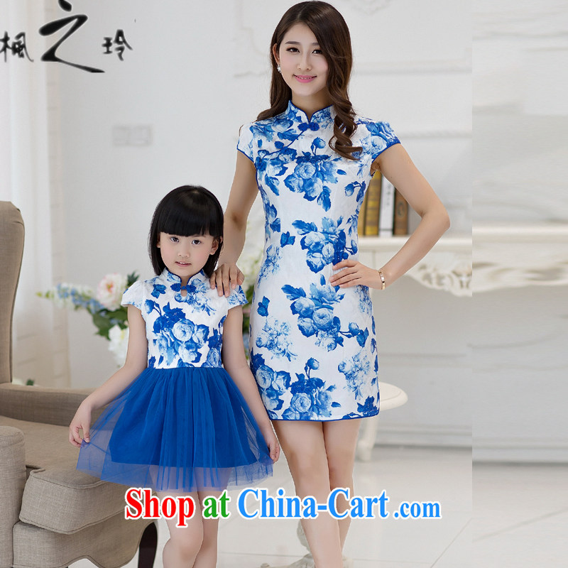 2015 summer new Ethnic Wind retro improved cheongsam parent-child with dresses to sell female blue and white porcelain XL + 13