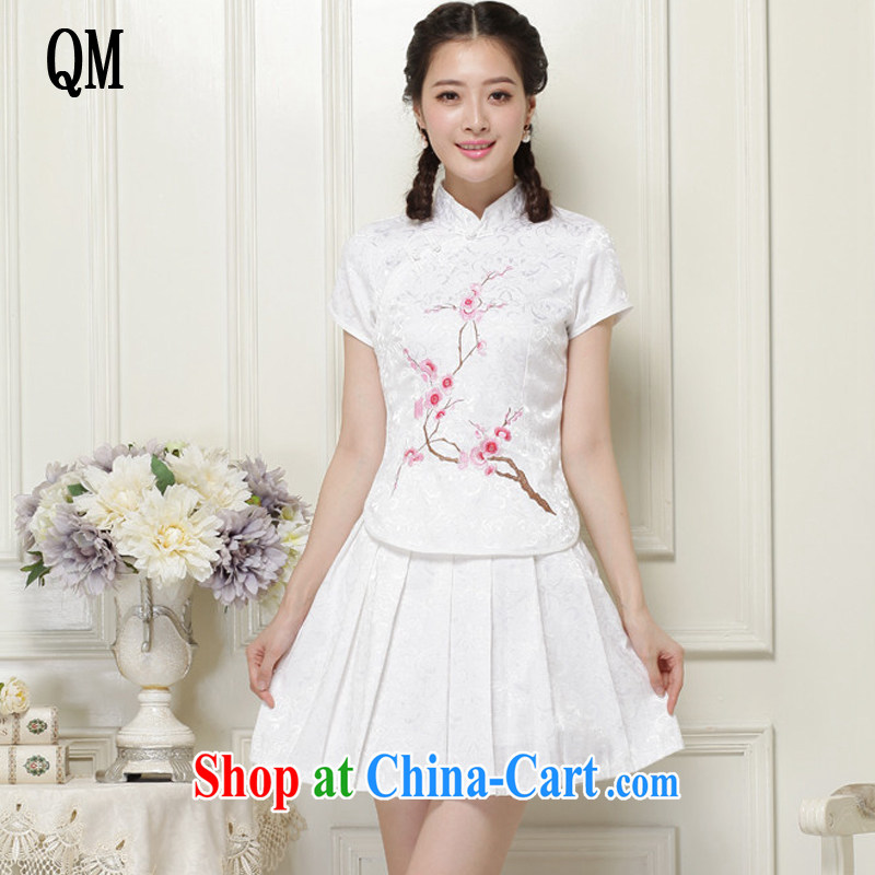 The end is very stylish girl with short, two-piece dresses Ethnic Wind elegant improved cheongsam JT 119# white XXL