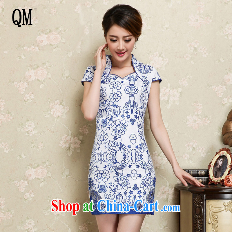 Shallow end improved retro short cheongsam Chinese blue and white porcelain pattern cheongsam dress JT 1129 blue XXL