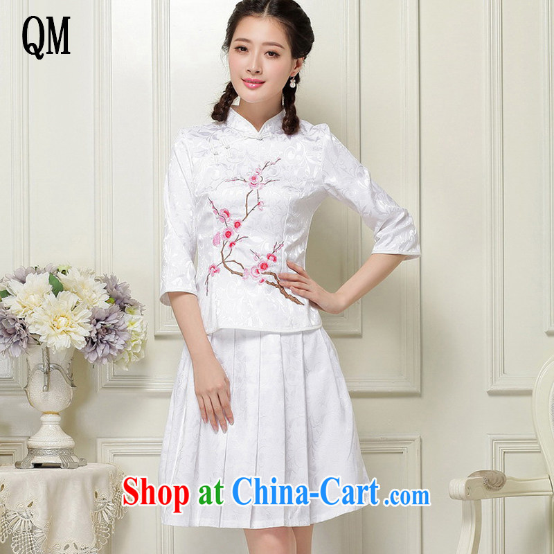 light at the Chinese qipao Ethnic Wind literary minimalist students with the collar cuff stamp two-piece dresses JT 1058 white XXL