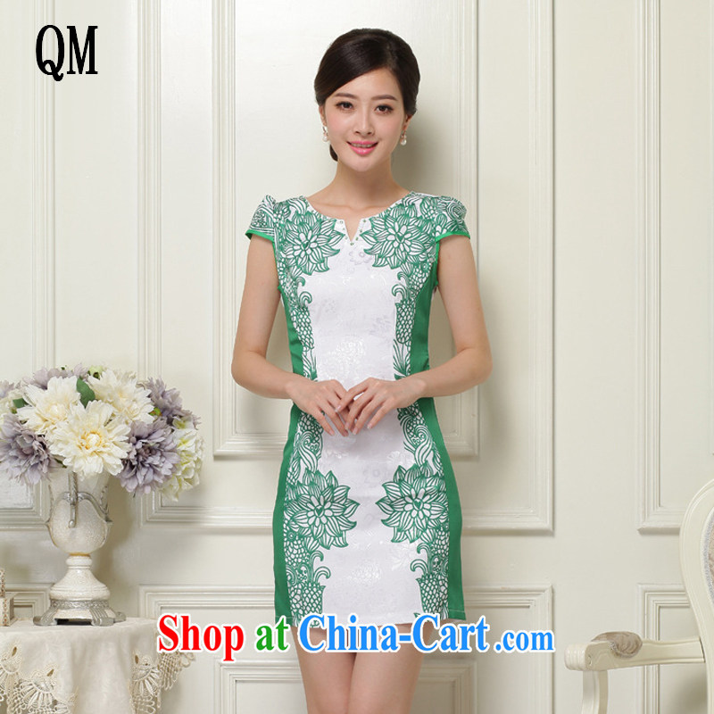 light at the national wind Cultivating Female improved cheongsam no's round-cut solid, qipao JT 1021 green XXL