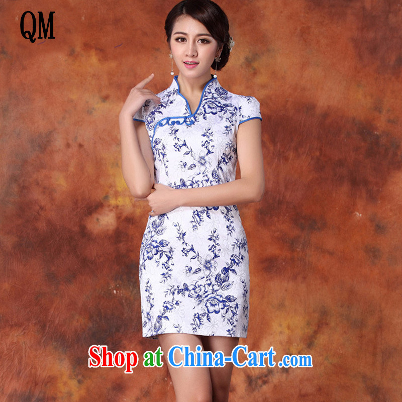 Shallow end female outfit blue and white porcelain hot silver improved short cheongsam beauty no's cheongsam Chinese JT 1012 blue XL