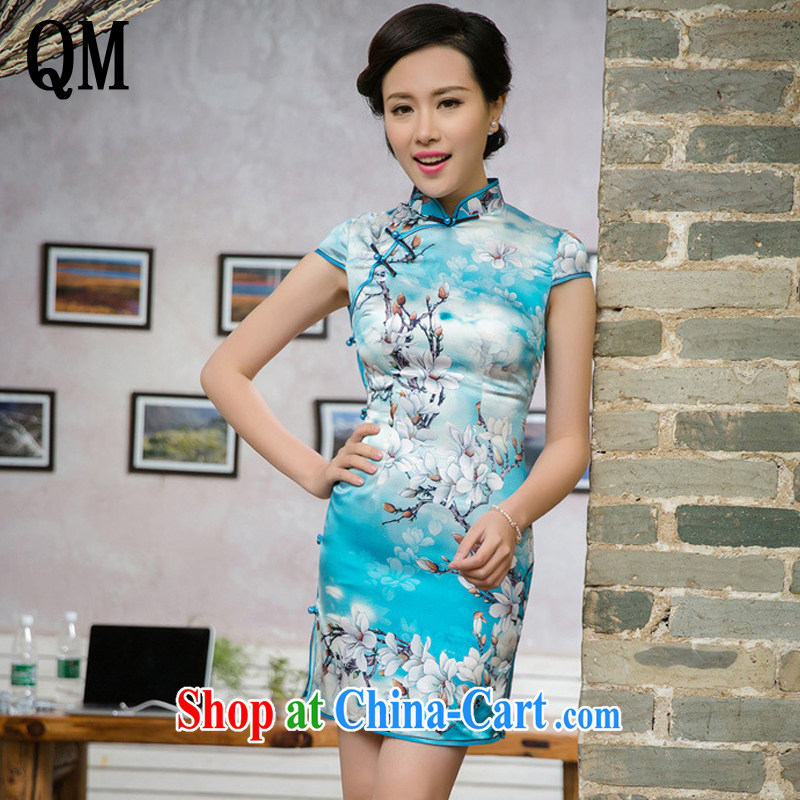Very late summer 2015 dresses, Retro beauty dresses improved daily short cheongsam JT 5095 Map Color XXL