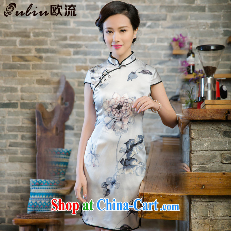 The current retro sauna silk heavy Silk Dresses spring and summer dresses JT 5081 white L