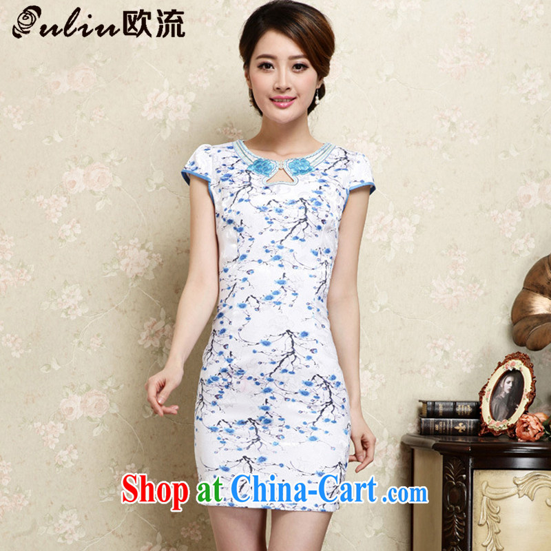The best female cheongsam Chinese national retro style beauty improved jacquard cotton robes JT 1022 blue L