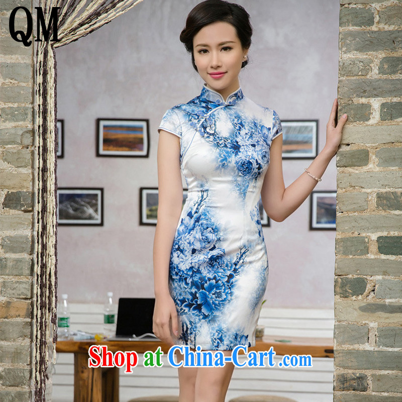 Very late summer 2015 double-decker cheongsam improved China wind antique porcelain was cheongsam JT 5091 Map Color XXL