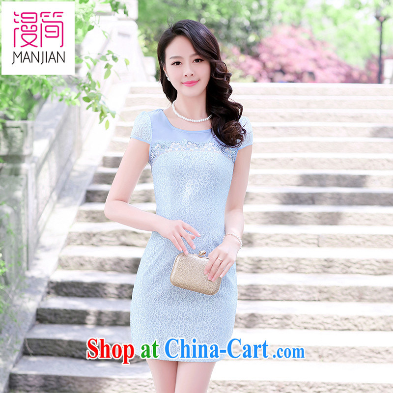 Spread in short summer short-sleeved dresses girls embroidery plain pack and short skirts ethnic wind improved cheongsam lace bows clothing blue XXXL