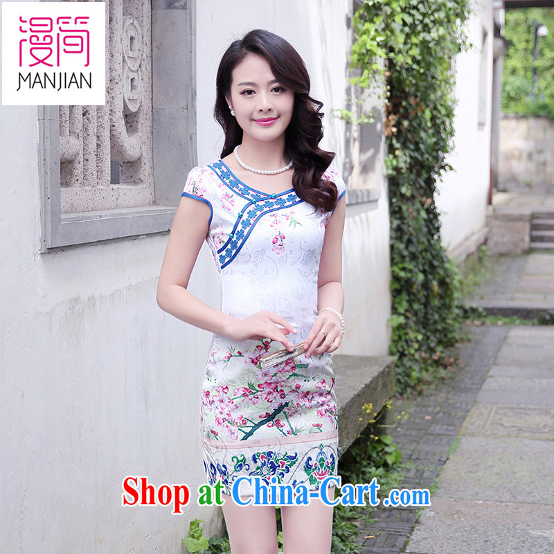 Animated short sleeve cheongsam dress name yuan style beauty embroidery short skirts 2015 summer new Chinese Dress package and toner Phillips XXL