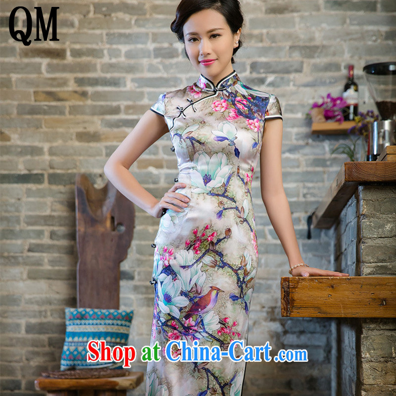 Very late summer 2015 standard double heavy Silk Cheongsam new retro long high on the truck beauty dress JT 5010 Map Color XXL