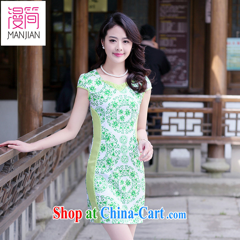 Animated short 2015 new summer short-sleeved dresses short skirt antique Chinese Dress package and lace stamp toast clothing green XXL
