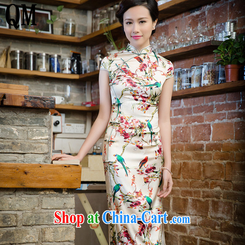 Very high end double heavy sauna silk Silk Cheongsam new retro long high on the truck beauty dress skirt JT 5096 Map Color XXL
