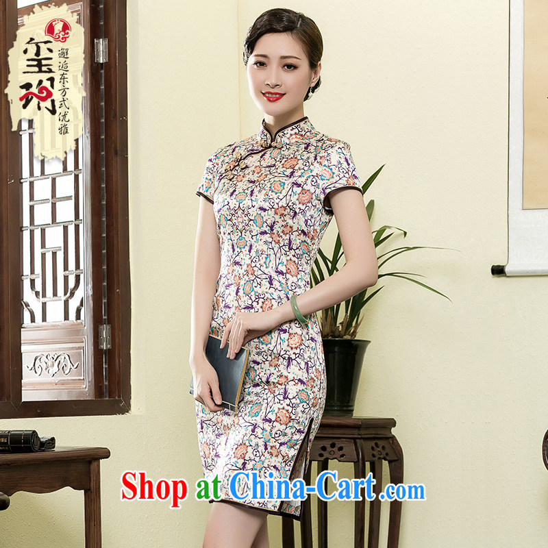 Yin Yue seal 2015 New floral heavy Silk Cheongsam summer retro improved Shanghai qipao Korea girl dresses picture color L