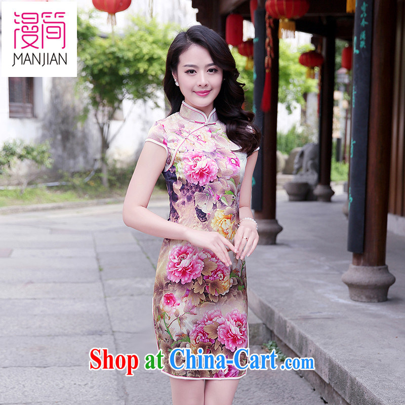 Animated short sleeve cheongsam dress name Yuan, for cultivating aura stamp 2015 summer new Chinese Dress sauna Silk Cheongsam dress pink Peony XXL