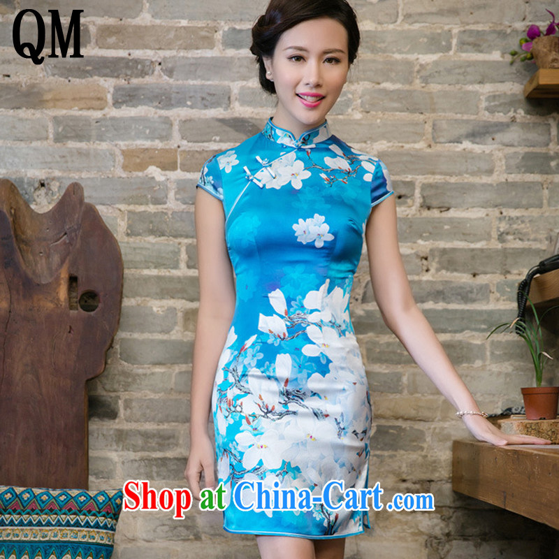 Very late summer 2015, Jade Orchid sauna silk Silk Cheongsam dress retro fashion improved cultivating cheongsam dress JT 5092 Map Color XXL