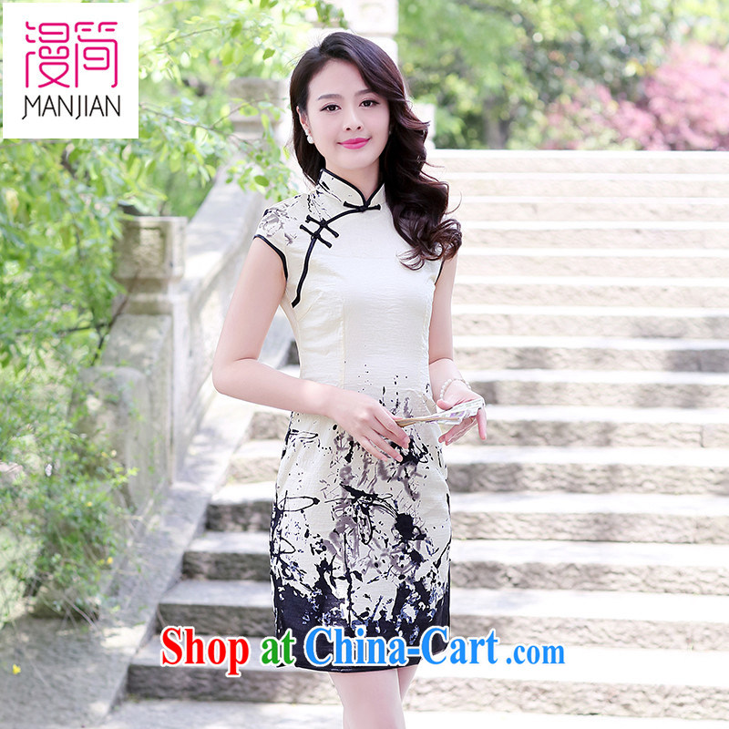 Spread in short 2015 new summer short-sleeved cotton the cheongsam dress ethnic wind cultivating Chinese bows service packages and painting XXL