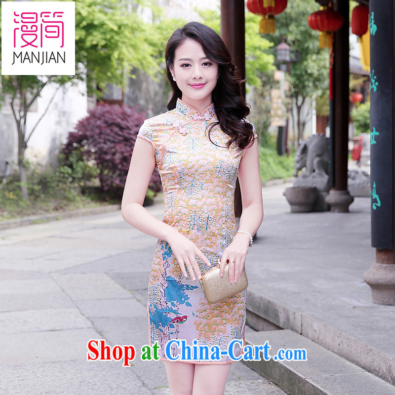 Animated short cheongsam dress retro, for Peony Chinese 2015 new summer short-sleeved daily ethnic wind package and small virgin XXL