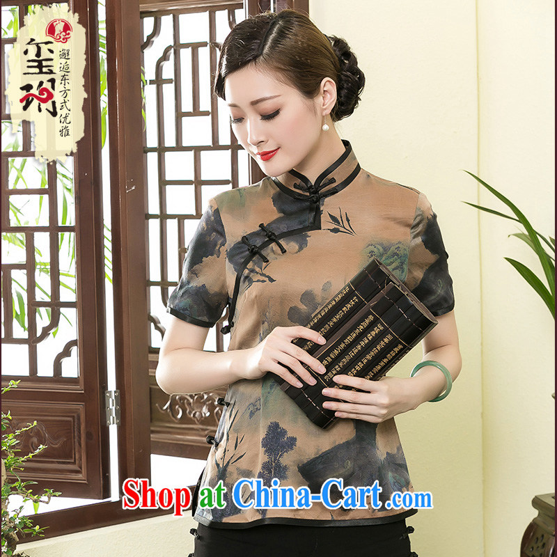 Yin Yue NARS summer 2015 new Hong Kong cloud yarn beauty dresses T-shirt daily improvement Ms. Chinese silk Chinese picture color XXXL