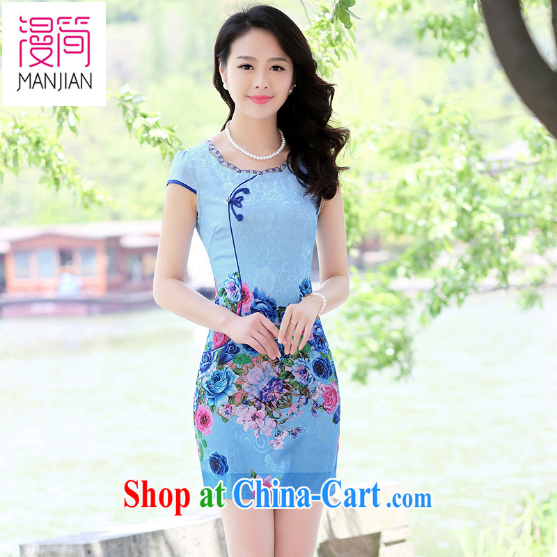 Animated short 2015 new summer cheongsam dress short-sleeved improved national wind antique Chinese beauty package and short skirts blue rose XXL