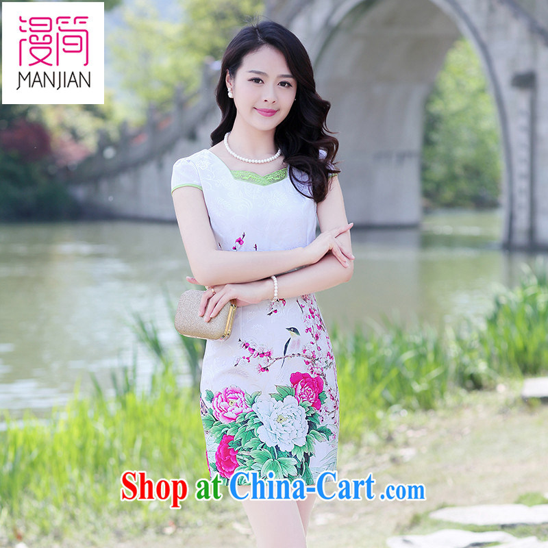Animated short 2015 summer day-girl cheongsam dress package and solid skirt Chinese Ethnic Wind cultivating cotton mA short skirts the Peony XXXL